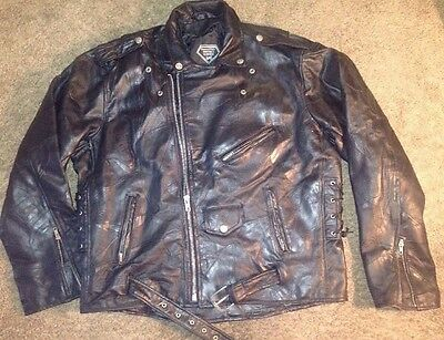 REAl VTG 80s LEATHER Motorcycle Biker JACKET Diamond Buffalo Bomber PUNK Rock