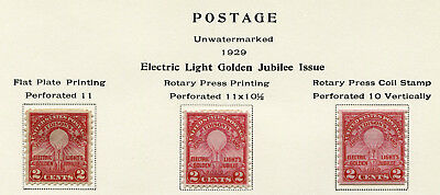 1929 USA.  50th Anniv of Edison's First Electric Lamp.  3 varieties x 2c MLH.