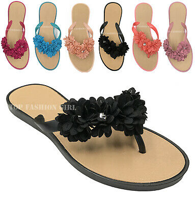NEW Women's Flower Petal Decorated Flat Flip Flop Jelly Thong Sandals 6 to 11