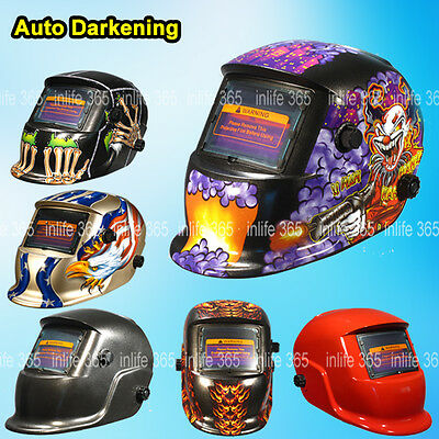 Auto Darkening Welding Helmet Mask Welders Grinding Solar Power+ 5 Lens 1 Bag AU