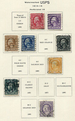 1914-1915 USA.  Part set of 8 USED.  CV £40.75.