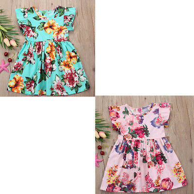 Toddler Kid Baby Girl Clothes Floral A-line Princess Party Dresses Outfits Sets