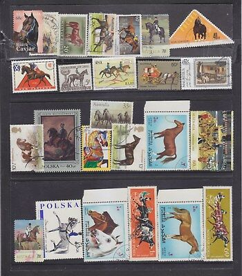 HORSES-25 x HORSE STAMPS-VARIOUS DATES/COUNTRIES-F/U-$5-freepost