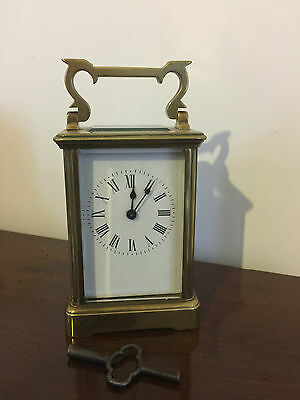 Antique LATE 19TH CENTURY English CARRIAGE Brass Clock 8 day