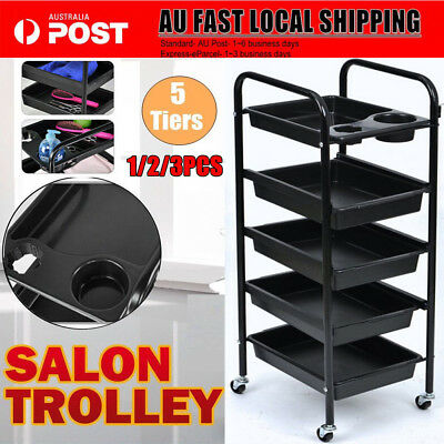 1/2/3PCS Beauty Spa Hairdresser Coloring Hair Salon 5 Tier Drawer Trolley Wheels