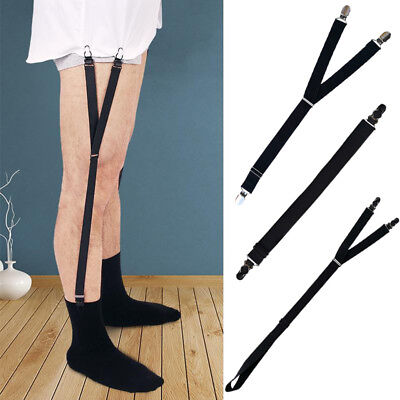 1Pair Mens Stays Holders Elastic Shirt Garter Suspender Non-Slip Locking Clamps