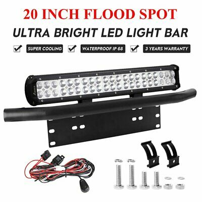 "20 inch CREE LED Light Bar Spot Flood + 23"" Number Plate Frame Mount Bracket"