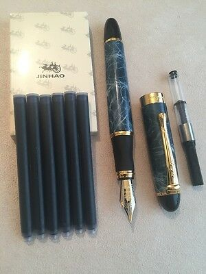 Jinhao X450 Blue Marble Gt Fountain Pen-M Nib-Ink Converter+Cartridges-Uk Seller