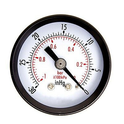 Dry Utility Vacuum Pressure Gauge Steel 1/4 inch Center Back -30HG/0PSI EN