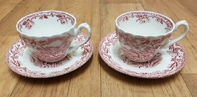 Vintage MYOTTS  ''COUNTRY LIFE'' Tea Cup & Saucer x 2-  Red Pink Transfer Ware