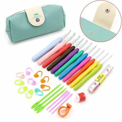 30Pcs Crochet Hook Kit Yarn Knitting Needles Clips Sewing Tool Set For Beginner