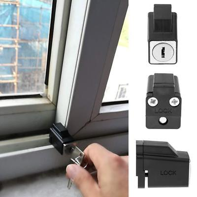 Aluminum Alloy Sliding Window Restrictor Lock Kids Baby Safety Limiter w/ 2 Keys