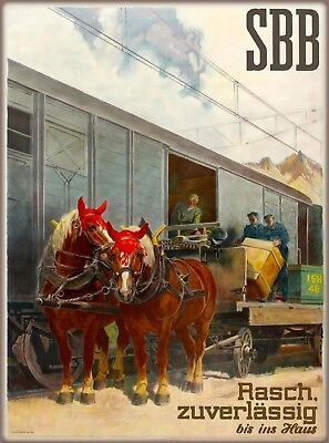 Swiss Federal railways Switzerland Vintage Travel Advertisement Art Poster