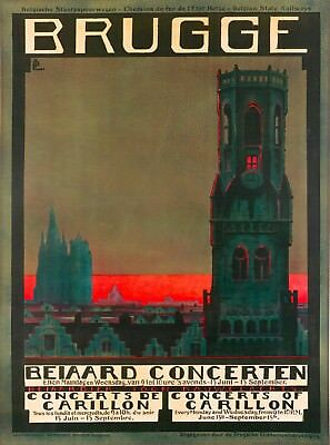 Brugge Belgium Europe Vintage  Travel Wall Decor Advertisement Art Poster Print