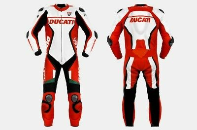 Ducati 2017 Red Motorcycle Racing Leather  Suit - Ce Approved Full Protection.