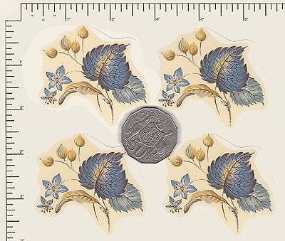 """4 x Waterslide ceramic decals Decoupage Leaves Flowers.2 1/2"""" x  2""""  PD13a"""
