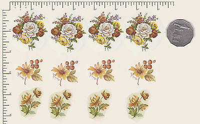 12 x Ceramic decals. Decoupage Mixed Flowers Floral 4 of each design. PD915