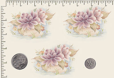 3 x Waterslide ceramic decals by Matthey 'Temple Garden'  Pastel Flowers  PD1a