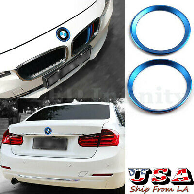 (2) Metallic Front Rear Logo Ring Covers Trims For BMW F30 E90 3 4 Series M3 M4