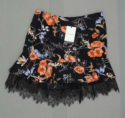 NWT Who What Wear Womens Ladies Floral Lace Layered Mini Skirt Black
