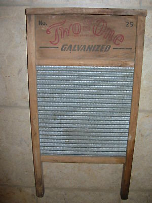 Vintage TWO-IN-ONE  Galvanized Standard Family Size No.25  WASHBOARD