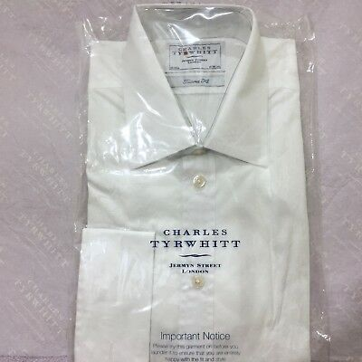 "Mens White Shirt CHARLES TYRWHITT 16"" 41cm TAILORED FIT Double Cuff Cotton Shirt"