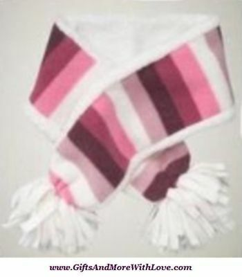 Baby Gap NWT Pink STRIPED PRO FLEECE FAUX SHERPA LINED SCARF POM POM One Size