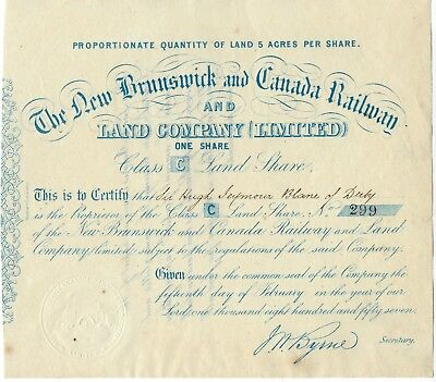 NEW BRUNSWICK and Canada Railway and Land Co. 1857 Stock Certificate
