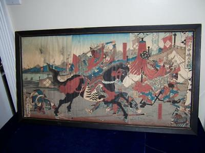 19c UTAGAWA YOSHIFUJI WOODBLOCK PRINT TITLED GREAT BATTLE SCENE AT KAWANAKAJIMA