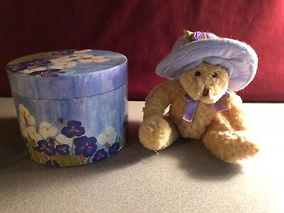 "Avon Plush 5"" Teddy Bear with Hat in Flower Box"