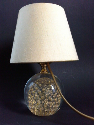 Beautiful 70's Murano Glass desk lamp Tischlampe gold foil air bubbles