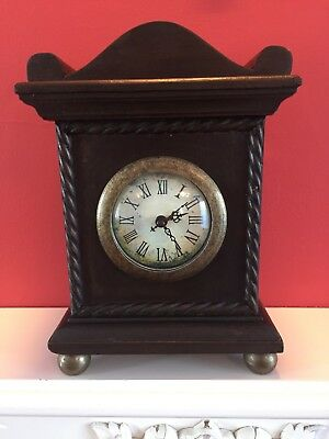A Fabulous Vintage Functioning Wooden & Brass Mantel Clock, Made in France