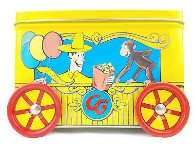 Curious George Empty Collectible Tin w/Wheels Yellow Trinkets Container Art Deco