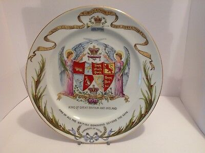 Shelley Porcelain Plate Commemorating The Coronation Of George V & Queen Mary