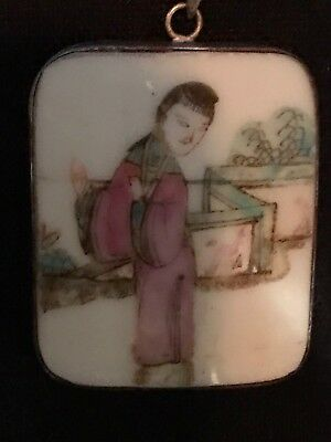 Vintage Antique Chinese Painting On Jade/Porcelain ? Sterling Silver Pendant