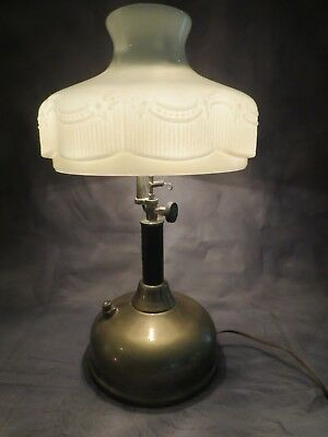 Vintage Electrified Steampunk Brass Tilley Lamp w/ Heavy Milk Glass Shade