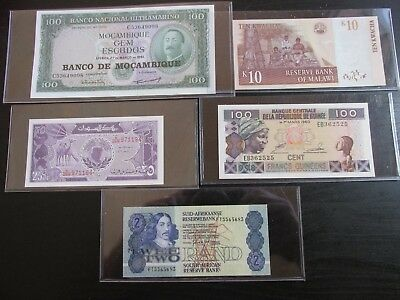 Mixed Lot of 5 African Nation Crisp Uncirculated Notes