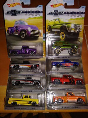 2018 Hot Wheels 100 yrs Different Chevrolet Trucks Complete set of 8-1:64