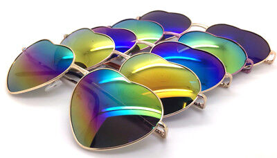 Wholesale Lots 12 Pairs Fashion Girl Heart Shaped Sunglasess With Colorful Lens
