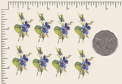 """8 x Waterslide ceramic decals Decoupage Violets + Approx. 1 1/2"""" x 1""""  PD10"""