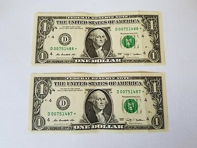 Consecutive **STAR** NOTES 2 X $1 bills