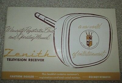 VINTAGE ZENITH Television Receiver Owners Manual Instructions Advertising 50's