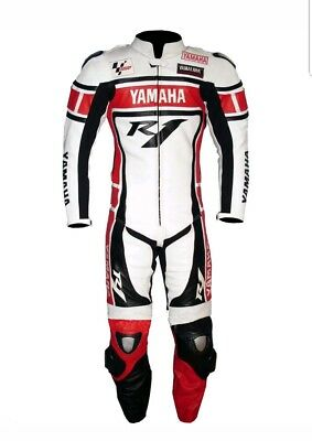 Yamaha R1 Red White Motorcycle Racing Leather Suit -Ce Approved Full Protection
