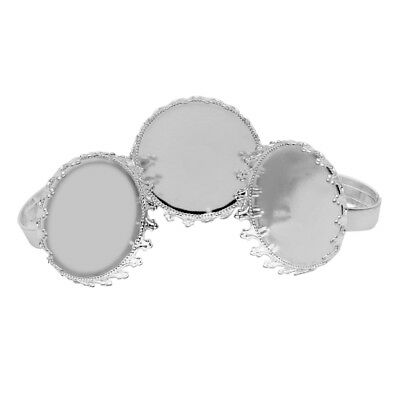 5pcs/lot Silver Plated Adjustable Crown Ring Blank Base Tray Jewelry DIY Making