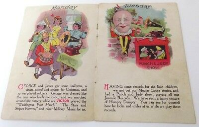 1900's Brochure Victor Phonographs & Records Kids Have Fun for Each Day of Week