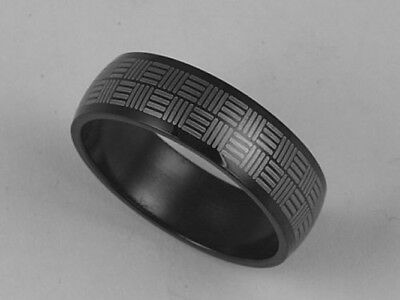 316L Black Stainless Steel Stripe Design Ring 7mm Band Size 8-11 NEW SS119