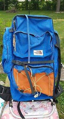 8f27ab1b2ed Vintage The North Face Backpack Hiking Camping - Blue Medium Frame. Brown  Label