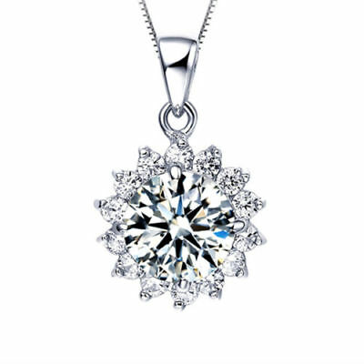 """Fashion Womens Sterling Silver  Elegant Chain White Crystal Pendant Necklace 18"""""""