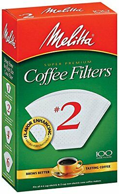 Melitta Cone Coffee Filters, White, No. 2, 100-Count Filters
