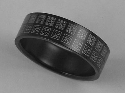 316L Black Stainless Steel Unique Design Ring 7mm Band Size 8 - 11 NEW SS120